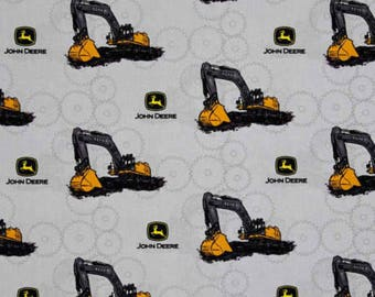 Farm Fabric, Tractor Fabric: John Deere Little Farm - John Deere Excavate Tractors Grey 100% cotton Fabric by the yard (SC1085)