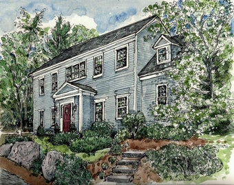 Custom House Portrait -Pen and Ink with Watercolor-Original House Portrait-House Painting-Houses Pen and Ink by artist Patty Fleckenstein