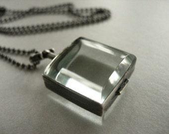 square sterling silver locket, antique glass locket, locket with ball chain