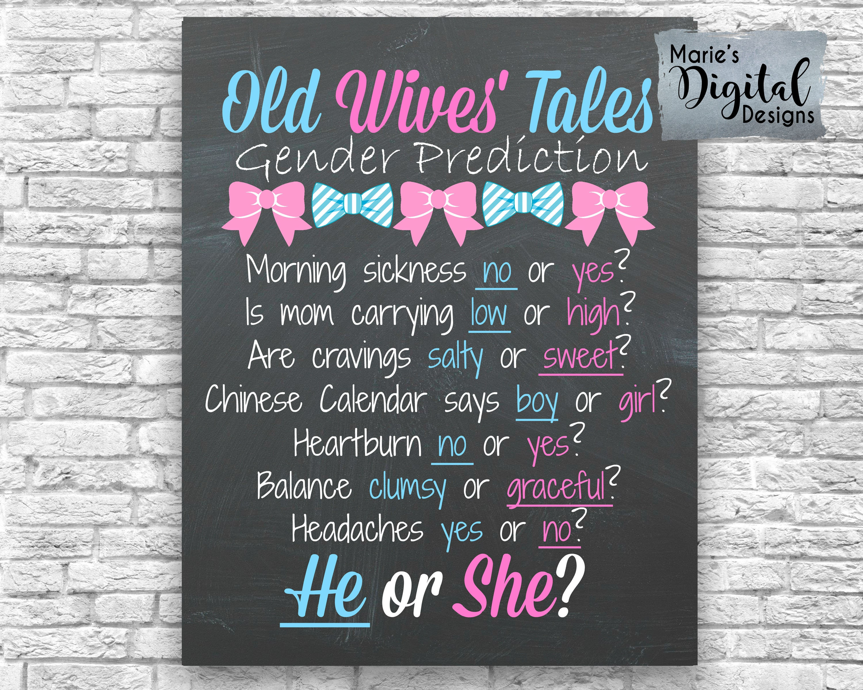 PRINTABLE Bows or Bow Ties Old Wives Tales Gender Prediction
