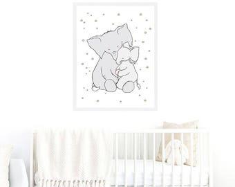 Elephant Mom Baby Nursery Printable Art,Elephant Stars Children,Elephant Baby Boy Baby Girl Printable,Stars Elephant Children,Elephant Art