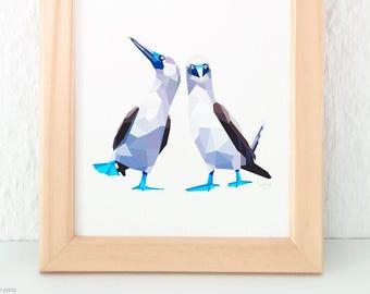 Blue-footed booby pair print, Geometric birds, Bird pair, Bird couple, Gift for partner, Anniversary gift, Lovebirds print, Funny animal art