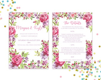 Painted Roses Double Sided Wedding Invitation & RSVP - DIGITAL FILE