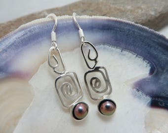 Silver and purple copper earrings