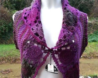 Rainbow bolero boho vest pink bolero pink vest winter bolero winter vest gradient flower bolero wool top crochet square Drops LilithCreation