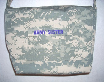 Army Sister Mom  Wife messenger bag your choice color for lining embroidery or Marine Mom Navy Mom Air Force Mom Army Aunt Navy Gramma etc.