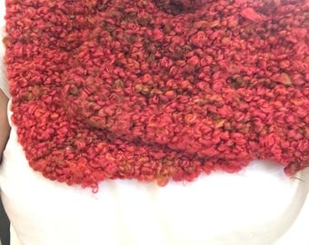 Hand Knit Red Short Scarf | Winter Wear | Handmade