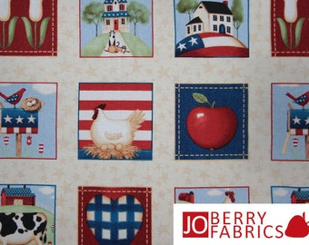 Americana Fabric, From the Heartland Fabric by Olivia Audi for South Sea Imports, Quilt or Craft Fabric, Fabrics by the Yard