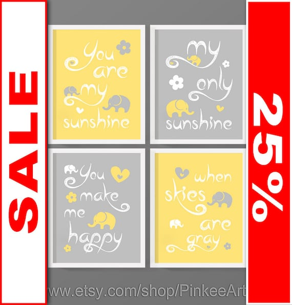 SALE you are my sunshine baby room wall art you are my
