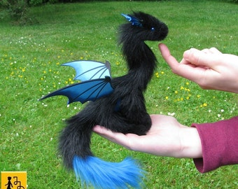 Pet Dragon posable doll black blue wings faux fur handmade fantasy creature animal posable Jerseydays