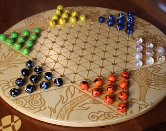 Jumbo Chinese Checkers w 20mm designer Marbles- Dragon Pattern Laser Engraved,  23 5/8