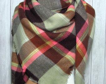 Neon Plaid Blanket Scarf, Women, Tan, Pink, Women's Gifts Zara Tartan Inspired, Oversized Large Unique Winter Scarves