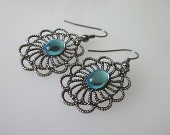 Filigree Earrings, Lacy Oval Filigree, Antiqued Silver Victorian Dangle, Blue Rhinestone Earrings, Filigree Jewelry