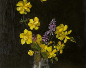 Yellow Flowers, Original oil painting, Small oil painting