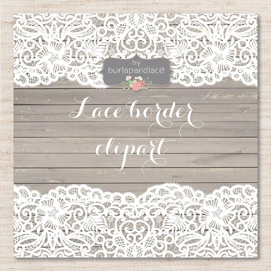 Lace border rustic Wedding invitation border frame lace