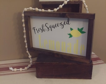 Lemonade Wooden Rustic Sign-  fresh squeezed lemonade sign- farmhouse sign- rustic sign- framed wooden sign