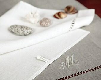 Pure Linen Monogrammed Guest/Face/Dish Towel