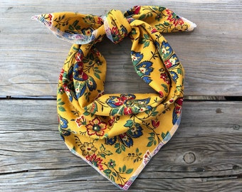 Bib Bandana girl baby bib toddler little girl baby accessories mustard floral southern Southwest beachy boho bohemian baby