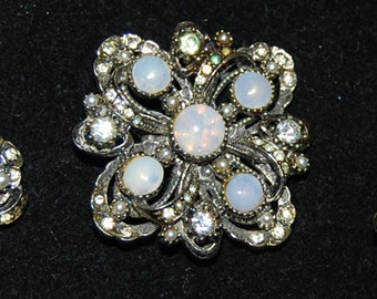 signed art moonstone brooch and earrings