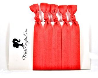 Red Hair Ties, Scarlet Red, Bulk Hair Ties, Knotted Hair Ties, Yoga Hair Ties, Handmade Hair Ties, Ponytail Holders, Elastic, missponytail