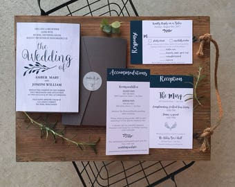 Rustic, Olive Branch, Blue and Gray Whitewash Wooden Pocket Wedding Invitations