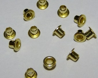 """Brass Hollow Eyelets 3/32"""" Wide x 3/32"""" Long Package Of 100"""