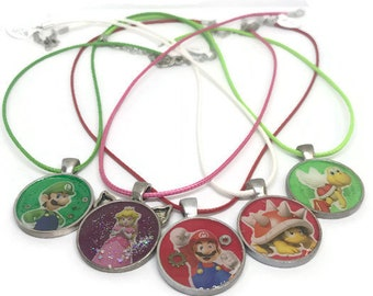 SALE--Super Mario Brothers Character Necklace/ Kids Jewelry/ Videogame Jewelry/ Videogame Necklaces/ Mario and Luigi, Princess Peach, Koopa