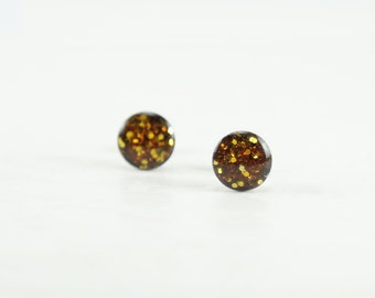 YELLOW GLITTER Stud Earrings  - Yellow Glitter Earrings - Sparkle Earrings - Glitter Earring Studs - Glitter Jewelry - 4mm / 6mm / 8mm