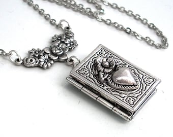 Secrets of the Heart - Silver Book Locket Necklace Jewelry by Gypsy Trading Company