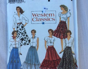 Simplicity Western Classics #8193 Flared Circle Ruffled Tiered Skirt Pattern 18 - 22
