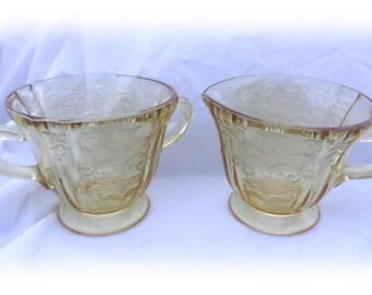 Yellow Gold Sugar and Creamer Set Vintage Gold Floral Cut Glass Sugar and Creamer Set