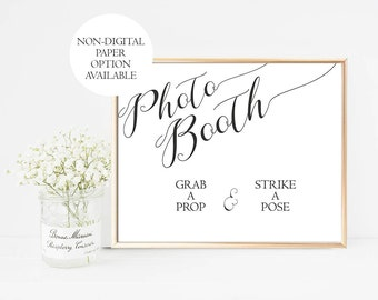 Wedding Photo Booth Sign Printable, Black White Photobooth Sign, grab a prop strike a pose, Wedding Photo Booth Prop, DIY, PDF, Digital