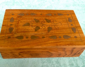 Vintage Jewelry Box, Wood with brass inlay