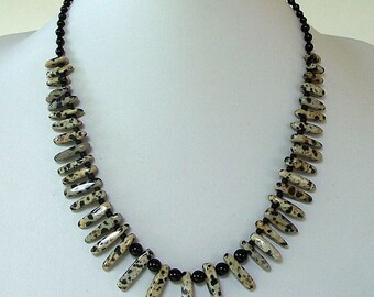 Black and Gray Dalmatian Jasper Graduated Finger Beads with Black Onyx Bib Necklace by Carol Wilson of Je t'adorn