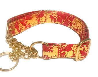 Red and gold splatter dog collar   LARGE   ready to ship