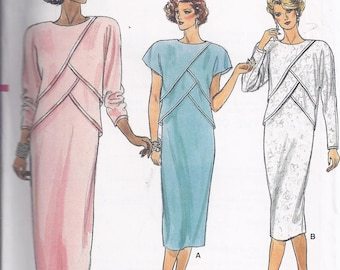 Vogue Sewing Pattern 9212 from the 1980's  Misses Straight Dress with front overlay, Bust 38  UNCUT