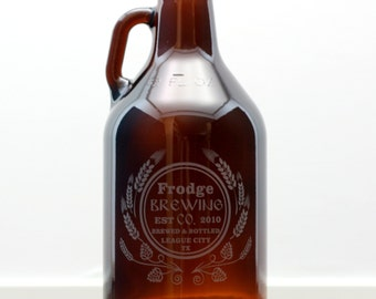 Personalized Home Brew Brewing Co Growler with hops and wheat Homebrew,personalized, Beer Glass, Beer Gift,fathers day gift,custom growler