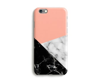 iPhone 7 Case, Geometric Marble iPhone Case Phone iPhone X Case, iPhone 6 Case, Protective iPhone Case, Pink Marble Print Geometric Case