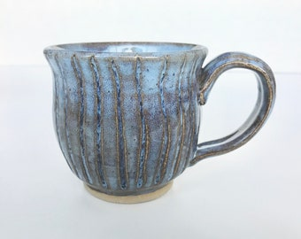Blue Mug in Earthy Stripes - Pottery Handmade - Pottery - Clay Mug - Pottery Mugs - Ceramic Mug - Handmade Mugs - Coffee Mug - Coffee Cup