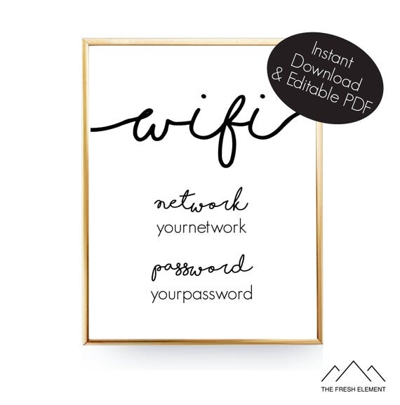 instant download editable wifi password sign wifi printable