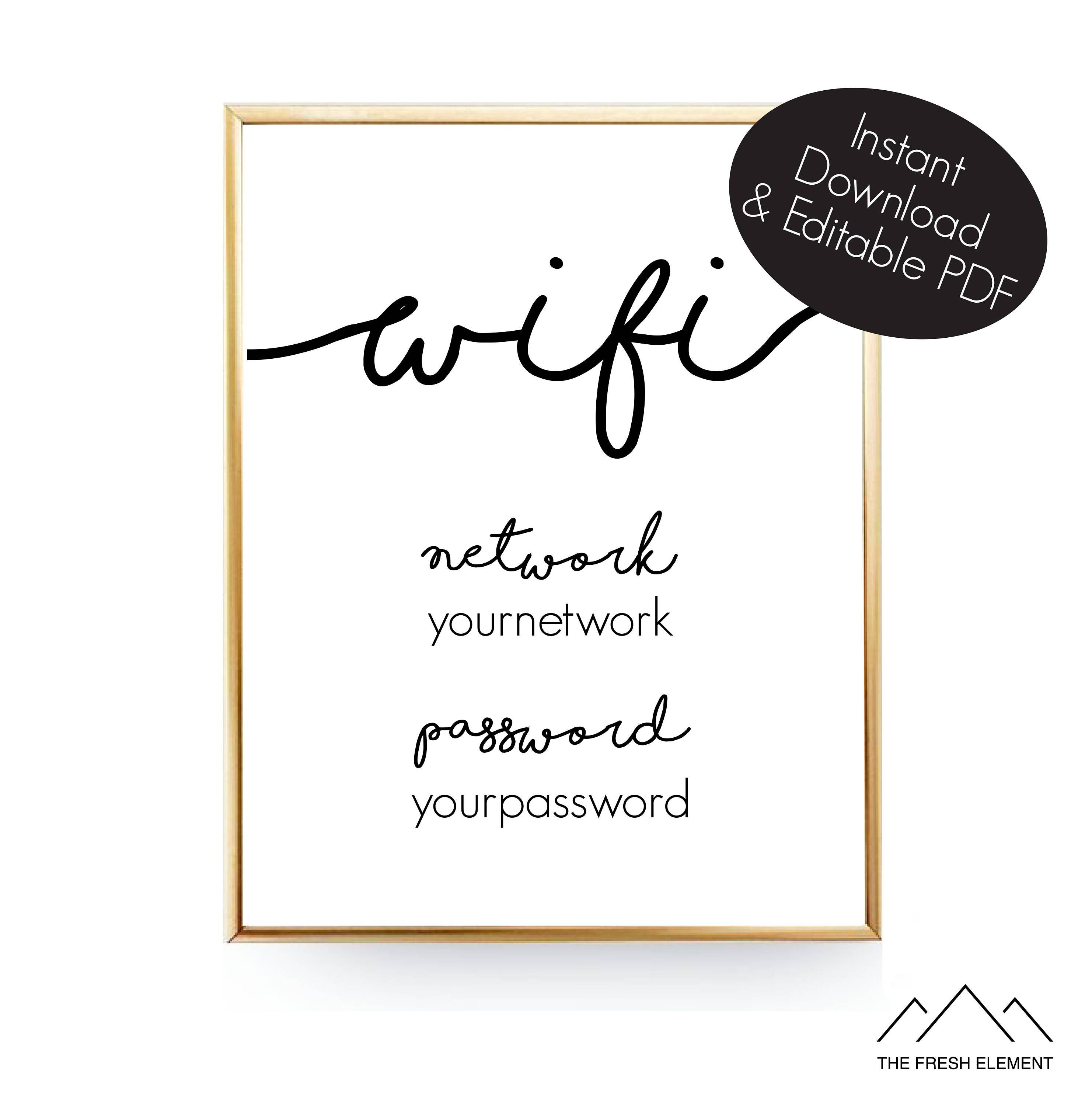 This is a picture of Astounding Wifi Password Sign Printable