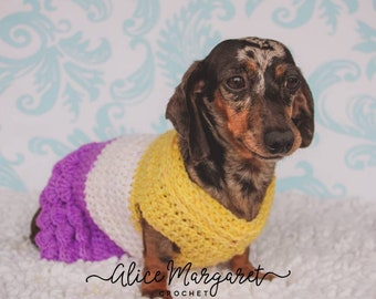 Custom Dog Sweater Dress | Small Breed | Free Shipping |  Crochet | Dog Clothes | Puppy Dress | Made To Order | Dachshund | Chihuahua