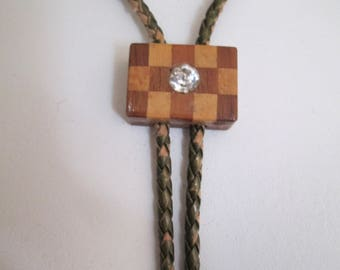 Hand crafted vintage checkerboard wood Bolo Tie on braided cord