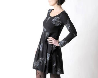 Black jersey dress, Floral long sleeved dress, Womens clothing, Womens dresses, MALAM