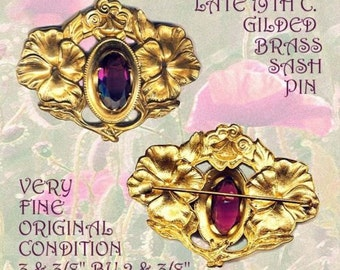 Brooch--Late 19th C. Heavy Cast Brass Art Nouveau Poppies & Amethyst Glass Jewel