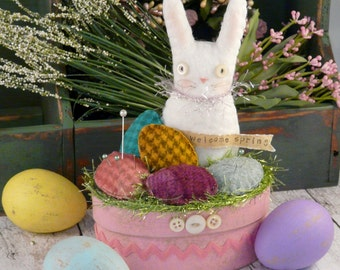 Easter Bunny make do PDF Pattern - doll eggs primitive pinkeep pincushion wool welcome spring banner
