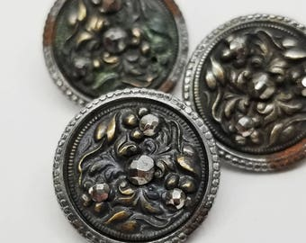 Set of 3 Antique Steel Cups ~ Ornate Triad Floral with Cut Steels ~ just over 5/8 inch 16mm ~ Silver Metal Steel Sewing Buttons