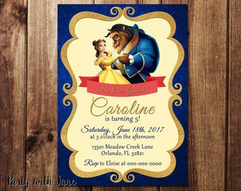 Beauty and the Beast Birthday Invitation, Invite, Princess, Belle, Girls Boys, Kids, Custom, Printable, 4x6