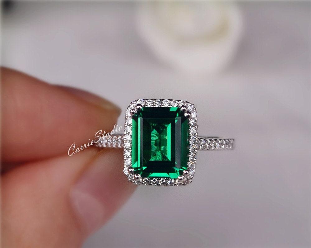 Emerald Wedding Anniversary Gifts: Gorgeous Emerald Engagement Ring Lab Emerald Ring Wedding Ring