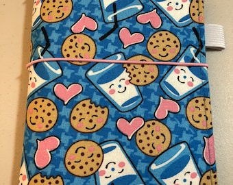 A6 SIZED Milk & Cookies Fabric Side Pocket Panel Fauxdori Travelers Notebook Planner Cover